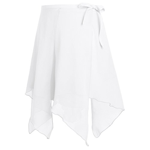 MSemis Womens Asymmetric Chiffon Ballet Dance Wrap Skirt Adult Ladies Skating Over Scarf Tutu Dress White One Size