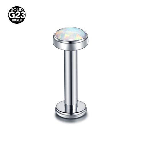 Xpircn G23 Titanium 14G 4mm Synthetic Opal Lip Ring Monroe Medusa Piercing Helix Earring Studs for Men -