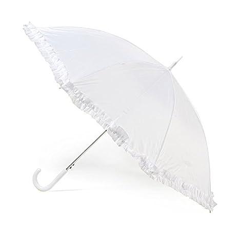 Paraguas de boda blanco de presupuesto con volante