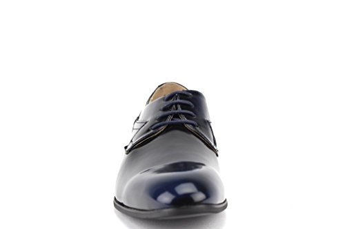 Majestic Mens 96503 Patent Leather & Distressed Classic Lace up Dress Shoes Navy FUbVNN