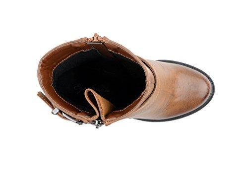 Eyekepper moda mujer correa de tobillo cremallera lateral Chunky Heels botas de PU Camel