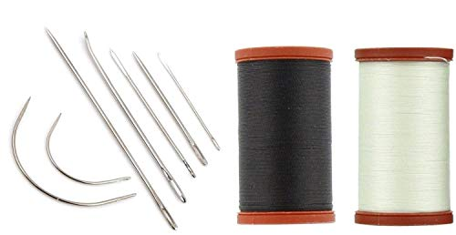 Upholstery Repair Kit! Coats & Clark Extra Strong Upholstery Thread 1 Naturel Spool, 1 Black Spool (150-Yard) Includes a Set of Heavy Duty Assorted Hand Needles, -