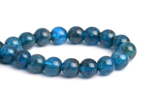 5mm Genuine Natural Blue Apatite Grade Round Gemstone Loose Beads 7.5'' Crafting Key Chain Bracelet Necklace Jewelry Accessories Pendants ()