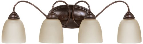 (Sea Gull Lighting 44319-710 Bath Vanity with Cafe Tint Glass Shades, Burnt Sienna Finish)