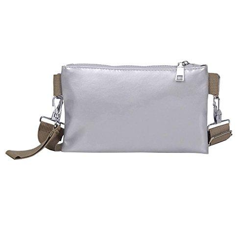 Women Pack Fanny Chest Handbag PU Silver Crossbody Everpert Clutch Belt Leather Waist Phone qCdqnHU