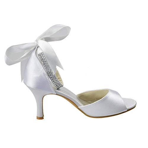 Ivory Vestir De Para Zapatos Hhgold Tamaño 9 Heel 5cm Uk Sandalias 5 5 Heel color Novia Mujer g8Tn8cf