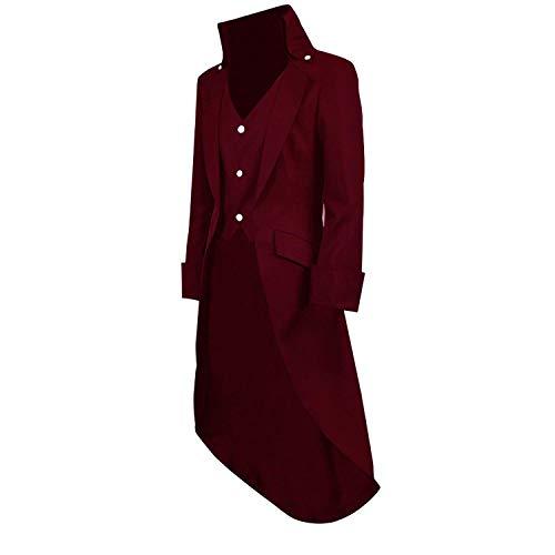 Uomo Huixin Dunkelrot Giacca Vampire Cosplay Vintage Cappotto Coat Halloween Gothic Da Vittoriano Cappottino Tailcoat Steampunk Tuxedo xBXCq