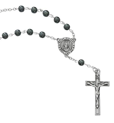 (ST. MICHAEL AUTO ROSARY, 7MM HEMATITE BEADS WITH PEWTER CRUCIFIX AND CENTER. CARDED.)