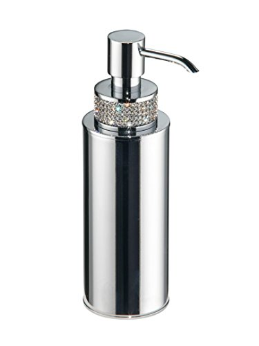 Carmen Countertop Soap Dispenser Set with Swarovski Crystal, Brass Polished Chrome, Table Mounted, Bathroom Accessories, Made in Spain (European Brand)