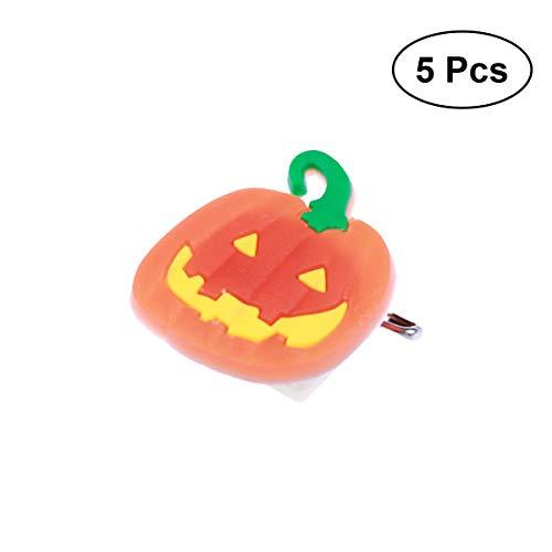 AMOSFUN 5PCS Halloween Flashing Brooch Pins LED Brooch Kids Party Supplies Flashing Light Brooch (Pumpkin)