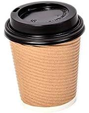 PAPER CAPUCCINO & COFFEE CUPS W/COVER 8OZ 25P
