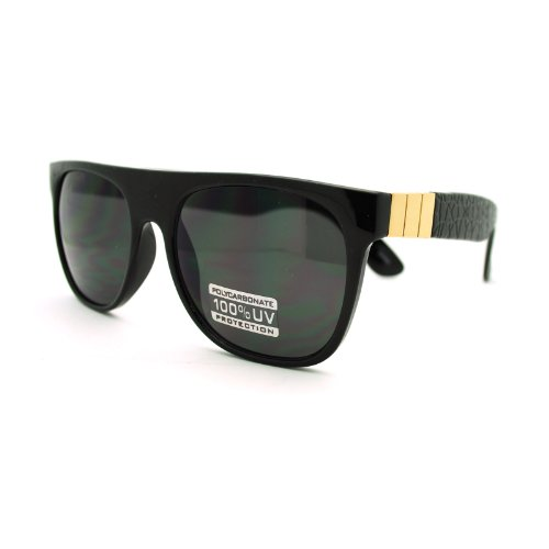 Mens Luxury Metal Trim Flat Top Mob horned Sunglasses Black - Flat Metal Wayfarer