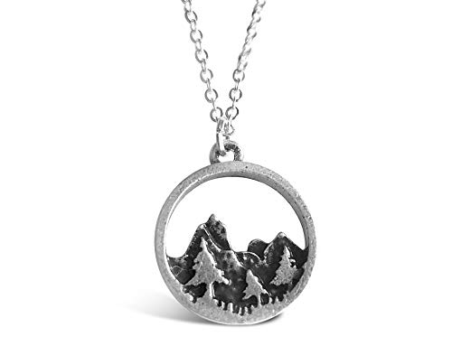 Rosa Vila Forest Necklace, Pine Tree and Mountain Jewelry for Women, Outdoor Enthusiast Gifts, for Birthdays, Holidays, and More, Mountains Necklace for Women with 19 Chain