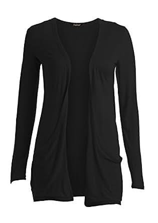Women's Boyfriend Pocket Cardigan Jersey Shrug Black 6