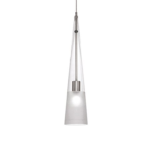 WAC Lighting MP-913-CF/BN Ingo Collection 1-Light Monopoint Pendant, Brushed Nickel with Clear Frosted Glass (Monopoint Collection)