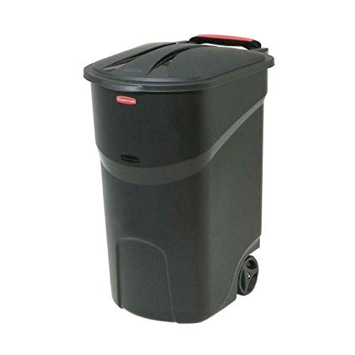 Alek...Shop Commercial Recycle Bin Basket Black Trash Can Lid Container Outdoor, Cuisine Waste Recycling Storage Cleaning 45 Gallon Garbage w/Wheeled for Restaurant, Garden, Courtyard, Pool
