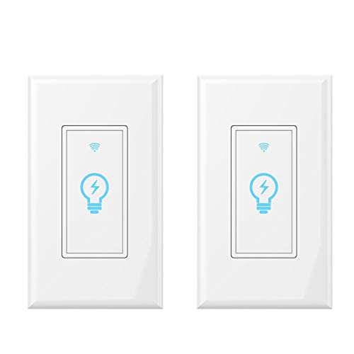 Smart Light Switch, Wi-Fi Wall Touch Remote Control, Requires Neutral Wire, Compatible with Alexa and Google Assistant, Control Your Fixtures From Anywhere, No Hub Required, molop ()