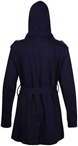 À Femmes Pour Bascule Extensible Marine Doubléà Grande Longues Ceinture Capuche Bleu Poches Hanger Carreaux Purple Veste Taille Manches Femme q8Iw5X