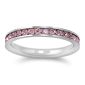 Amazoncom Stainless Steel Eternity Pink Cz Wedding Band Ring 3mm