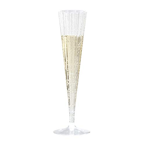 Toasted Drinkware Premium Hard Plastic Clear Two Piece 5 oz Champagne Flutes (20 Count) -