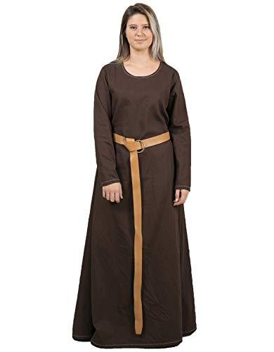 Lena Medieval Viking Renaissance Cotton Women Underdress - Made in Turkey, 3XL-Brown