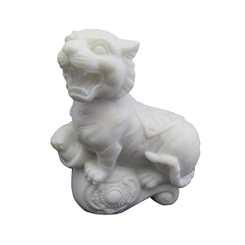 Feng Shui Marble - LINGS White Tiger Statues Marble Stone Guardian,Chinese Zodiac Feng Shui Decor,for Home and Office Attract Wealth and Good Luck,Best Housewarming Congratulatory Gift