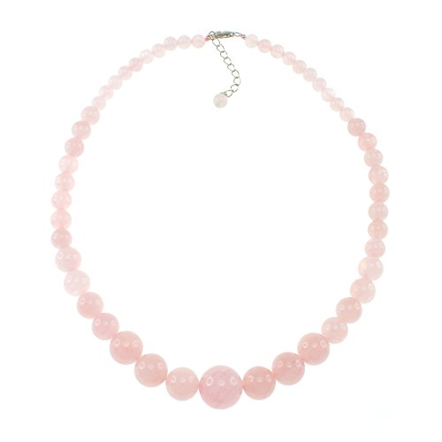 (Pearlz Ocean Natural Pink Rose Quartz Graduated Beads Strand Necklace for Women Sterling Silver clasp)
