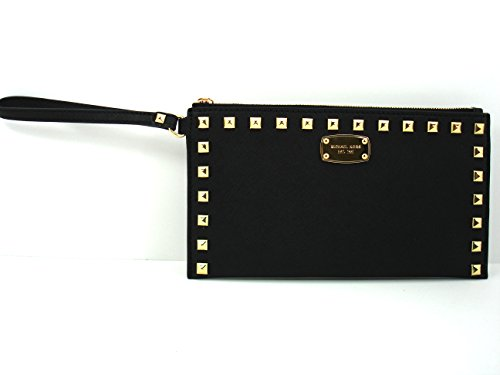 Michael Saffiano Stud Zip Clutch Saffiano Leather Clutch Wallet Back/Gold Hardware ()