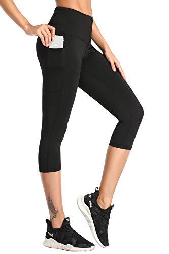 Yoga Pants,BESTENA Womens Leggings Capri High Waist Tummy Control Workout Running Pants With Pockets(Black,Small) (Best Running Pants With Pockets)