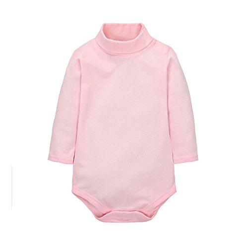 CuteOn Baby Boys Girls Solid Color Basic Turtleneck Cotton Bodysuit Jumpsuit Pink 6 ()