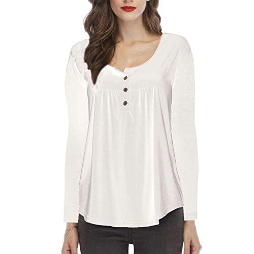 White Longues Rond Vrac col Manches Drap Shirt Femmes Convient Avant Tops Bouton en l'automne Wnw8qYORF8