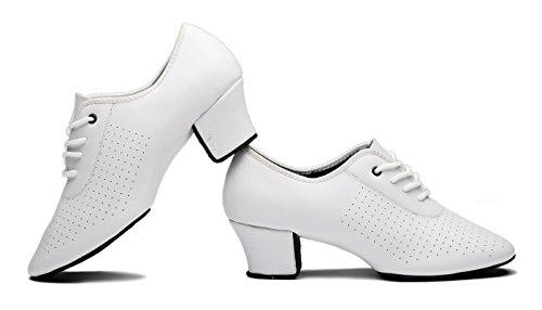 Gogodance Womens Latin Salsa Wedding Dance Shoes Ladys Ballroom Dancing Sneaker White Leather WV7uJ