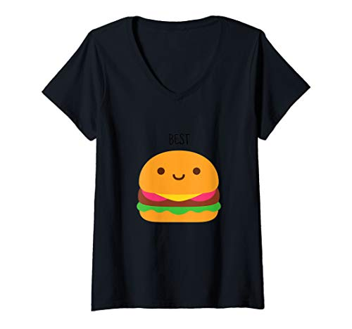 Womens Funny Best Friends Matching Hamburger & French Fries Shirt V-Neck T-Shirt ()