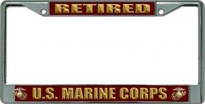 (U.S. Marine Corps Retired Chrome License Plate Frame )