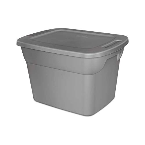 Storage Tote Box with Lid & Handles Plastic Bin Containers Case of 8, 18 Gallon Capacity, for Closet Desk Shelves Clothes Books, Air Tight, Steel/Gray