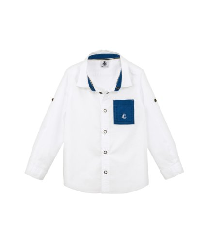 Petit Bateau Little Boys' 'Flavio' Shirt With Pocket (Kids) - White/Blue - 4 ()