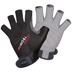 Hyperflex 3/4 Finger Gloves - Helps Protect hand - Kayak Gloves for Kiteboarding, Canoeing and Stand-Up Paddle-Boarding - Padded and Vented for Durability and Comfort - Adjustable Wrist Cinch Medium