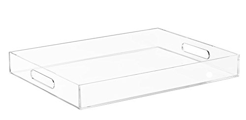 Clear Serving Tray - 16 x 12 Inches Acrylic Trays - Handles for Serving, Hobbies, Crafts, Storage, Organizing - Quality Plastic for Tabletops, Countertops Storage and Transport - Sturdy, Shatterproof ()
