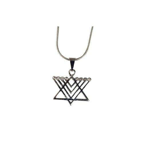 Rhodium Star of David Pendant with Menorah Design and Small Beads (10 Units) ()