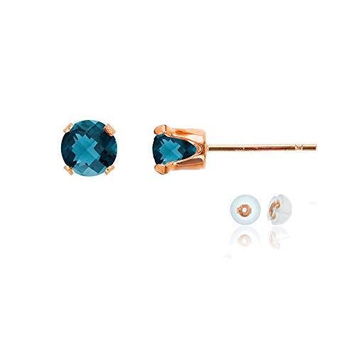 Genuine 10K Solid Rose Gold 5mm Round Natural London Blue Topaz December Birthstone Stud Earrings (Rose Gold London Blue Topaz)