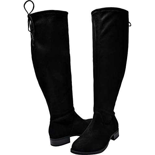 Women's Wide Width Over The Knee Boots - Stretchy Low Block Heel Vegan Suede Pull on Thigh High Boots.(180909,Black,7) ()