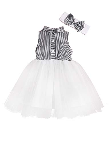 Baby Girl Clothes Summer White and Black Stripe Princess Tutu Skirt White Tulle Dress Bubble Skirt with The Headband 2-3 T