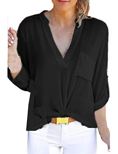 Femmes Tops Mode Chemises Manches JackenLOVE Col Noir Blouses Automne Hauts Tee Longues Unie Printemps Chemisiers V Casual Shirts Couleur 61EgR1