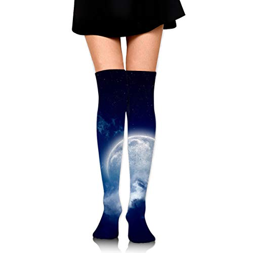 (Moonlight Cloudy Night High Knee Socks For Boots Long Dress Compression Polyester Sox Leg Tube)