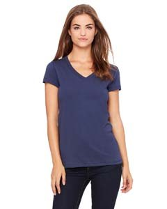 Bella + Canvas Ladies' Jersey Short-Sleeve V-Neck T-Shirt XL NAVY