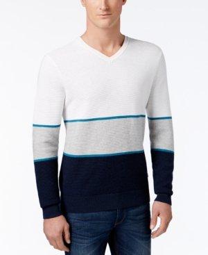 Michael Kors Mens Walden Linen Colorblock Pullover Sweater White M