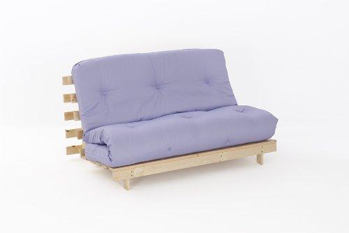 Comfy Living 4ft6 LUXURY Double (135cm) Wooden Futon Set PREMIUM LUXURY Lilac Mattress