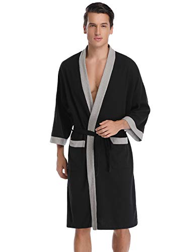 Bathrobe Cotton Lightweight Nightgowns Sleepwear Spa Robe ()