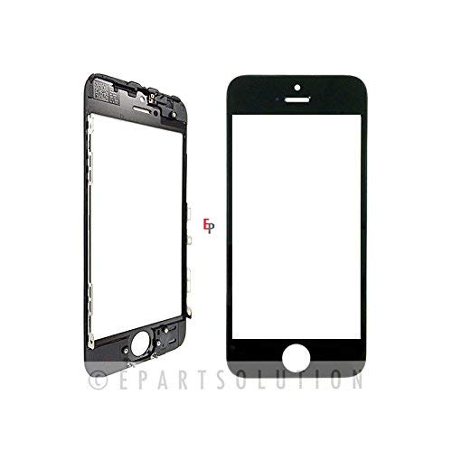 ePartSolution_iPhone 5S Front Glass Outer Lens Touch Screen Cover With Frame Bezel Black Replacement Part USA - Black Bezel Frame