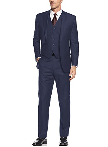 Salvatore Exte Men's Suit 3-Piece Two Button Blazer Jacket Flat Front Pants (52 Regular US / 62R EU / W 46'', French Blue) by Salvatore Exte